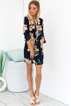 Up Front Dress - navy